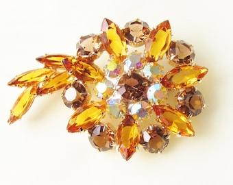 Large Vintage Amber Citrine Rhinestone Brooch Flower Mid Century