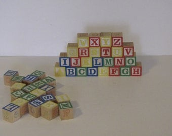 Vintage Wooden Alphabet Blocks - approx 40+ blocks