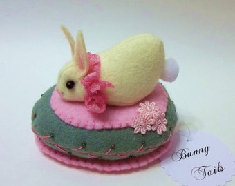 Bunny Collectible Pin Keep ~ Bunny Sits Atop A Felted Wool Egg Home Decor Gift Collectible Pin Keep