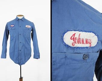 Vintage 60s Mechanic Shirt Johnny Blue Twill Sohio Uniform Button Up Workwear - Size Small