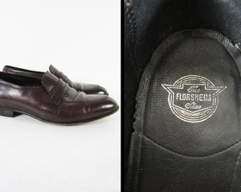 Vintage Florsheim Shoes Slip On Leather Loafers Oxblood - Men's Size 8 1/2