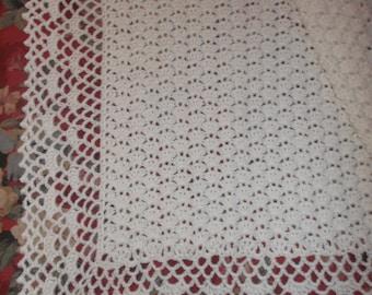Crocheted White Baby Afghan (bk119)