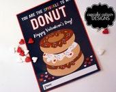 Donut Valentine Printable- Kids Valentine Digital Class Card  Chalkboard - Instant Download