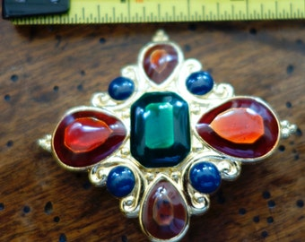 Vintage Estate Signed Jay Strongwater Scarf/Pin Pendant Pristine Multicolor