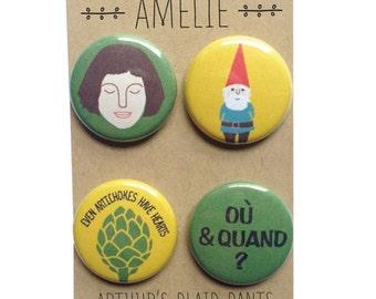 Amélie, Amélie Poulain, Amélie badges, Amélie magnets, Amélie pinback buttons