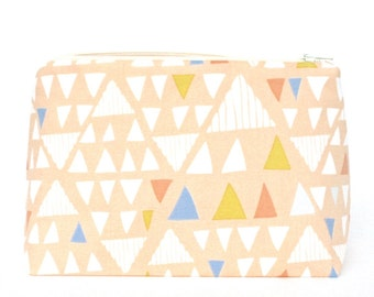 Makeup Bag in Peach Abstract Triangle Graphic - Cosmetic Bag