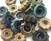 Small Rustic glass Gear bead by Thornburg Bead Studio - artisan made - made to order