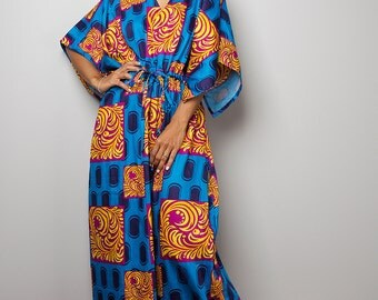 Boho Maxi Dress / Caftan Long Summer Gown with African Inspired Print : Bohemian Kaftan Collection No.1
