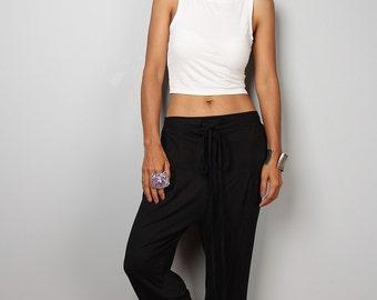 Black pants / black harem pants / long black pants classy street style : Urban Chic Collection no.15