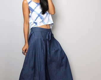 Denim Pants - Wide Leg Pants - Dark Blue Pants :  Soul of the Orient Collection