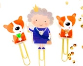 Queen Elizabeth II and her Corgis Planner Paper Clip | Novelty Magnets & Planner Accessories - Party Gifts Favors | British Monarchy Gifts