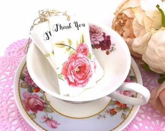 Thank You Gift Tags Shabby Chic Style. 10 Watercolor Pink Rose Tea Party labels. Thank You Gift Tags. Rose Garden Custom Gift Tags. Red Rose