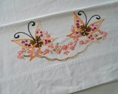 Embroidered Butterfly Case / Butterfly Pillowcase / Butterfly Bedding / Vintage Pillowcase / Hand Embroidered / Orange Butterflies / Peach