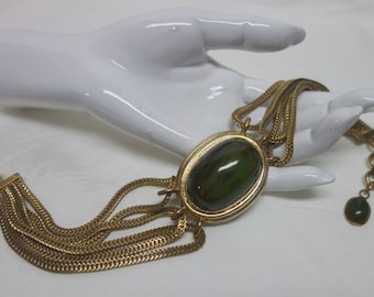 Vintage ROGER SCEMAMA Choker Necklace w/Green Cabochon Rare