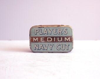 vintage original player's medium navy cut tobacco tin