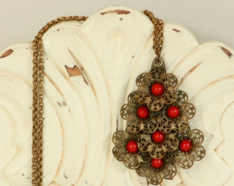 Vintage 1960's Jewelry - Vintage Statement Necklace - Large Brass Filigree Pendant on Chain - Red Bead/Brass Necklace - Boho Chic Jewellery