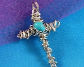 Silver Tone Wire Wrapped Cross Pendant with Turquoise Bead, Handmade Crucifix Jewelry