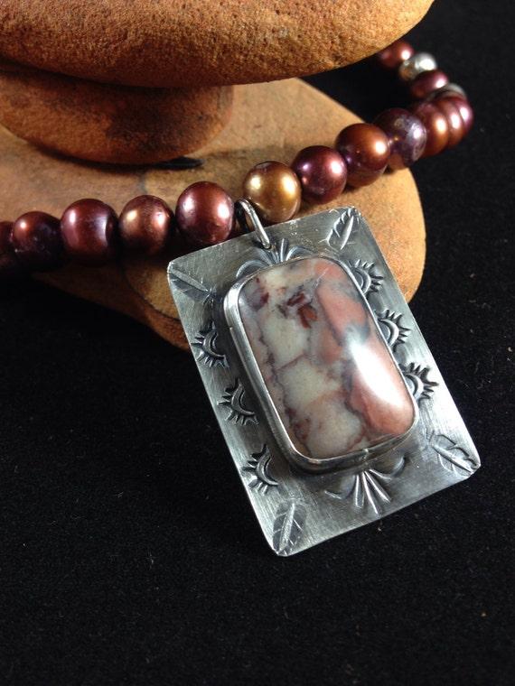Handmade Southwestern Pink Rhodonite Sterling Silver Pendant Cranberry Pearls Navajo Pearls OOAK