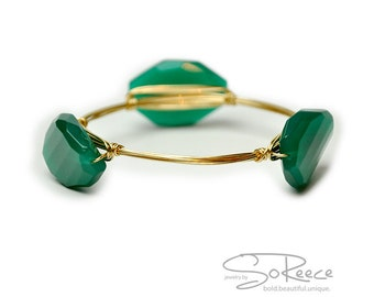 Emerald green BANGLE bracelet