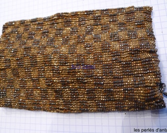 antique french steel cut beads on bag