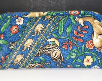 Vera Bradley Double Eyeglass Case Pouch Animal Kingdom Blue Cloth Retired Sunglass Case
