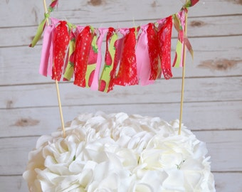 Strawberry Shortcake Birthday - cake topper - First Birthday Cake Topper - Cake Bunting - Cake Banner - Strawberry 1st birthday cake topper
