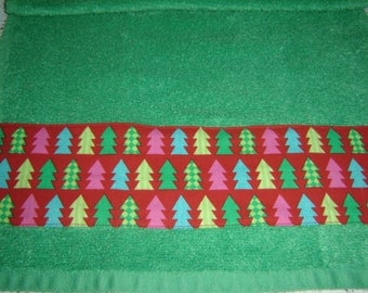 Xmas trees on red fabric, bright green dish/hand towel, holiday decor, seasonal towel, unisex kitchen/bathroom, hostess gift, cotton terry