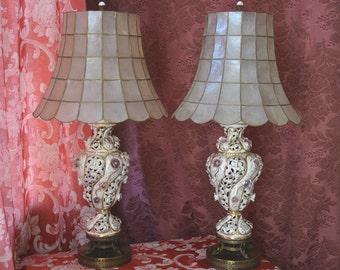 Italian  Porcelain Lamps, Capodimonte
