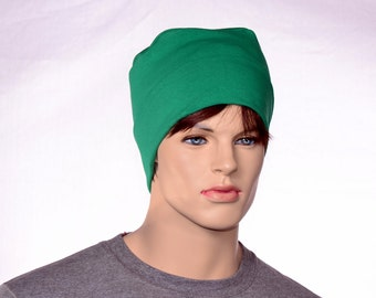 Kelly Green Cotton Knit NightCap Lounging Cap Classic Round Thinking Cap Mens Yoga