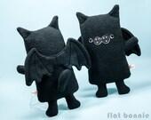 Cat Bat plush Bat Cat stuffed animal, Kawaii BatCat wings, Cute gothic black cat soft toy doll, Handmade boy girl gift, Gothic emo cat