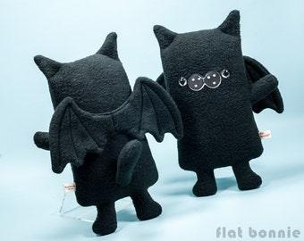 Cat Bat plush Bat Cat stuffed animal, Kawaii BatCat wings, Cute gothic black cat soft toy doll, Handmade boy girl gift, Flat Bonnie