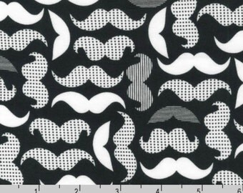 Laguna Jersey Prints - White Black Mustaches by Ann Kelle from Robert Kaufman