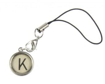 Typewriter key white letter cellphone charms