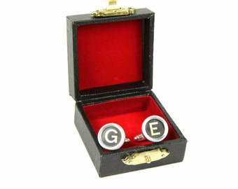 [ABC00034-H] REQUEST letter cufflinks typewriter keys of Miniblings black B +?, 2nd letter: H