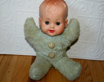 Vintage Furry Baby Doll, Rubber Face