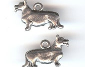 WELSH CORGI Charm. Pewter. Two Sided Dog. Made in the USA.