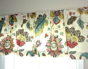 Curtain Valance Topper Window Valance 52x15 Brown Blue Maroon Gold Floral Valance