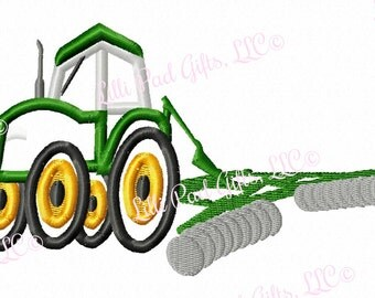 Tractor with Plow - Applique - Machine Embroidery Design - 4 sizes