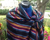 Black Rebozo  - 3 yard Black Aztec Tribal Shawl - Mexican Boho Style Scarf Accessories - Doula Tools and Training -DIY Baby Wearing
