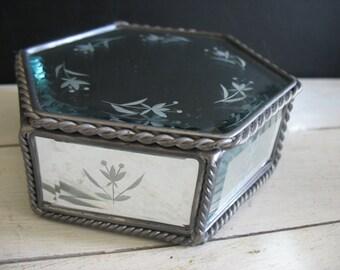Vintage Etched Glass Trinket Box