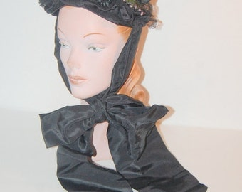 Antique Victorian Bonnet Mourning Hat Late 1800s Gothic Romantic Loveliness