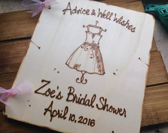 Bridal Shower Guest Book Personalized with Dress Shown