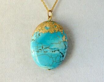 Gold Leaf Stone Pendant - Howlite Turquoise