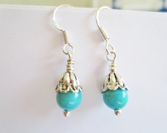 Small Turquoise drop earrings with sterling silver hooks