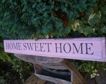 HOME SWEET HOME Vintage Shabby Chic Rustic Wooden Sign Handmade Large