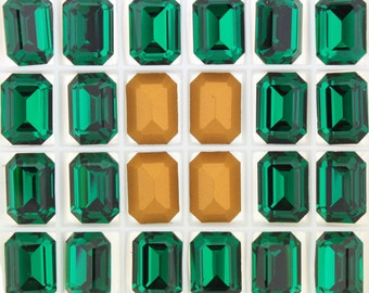 3 Emerald Crystal Swarovski 4610 14x10mm F