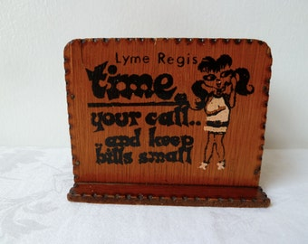 1960's Vintage, Kitsch, Wooden, Phone Money Box, Lyme Regis Souvenir Box