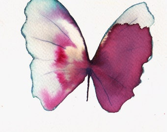 cherry red pale blue and white gold butterfly original watercolour painting
