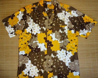 Mens Vintage 60s Sample Shop Floral Hawaiian Shirt - L - The Hana Shirt Co