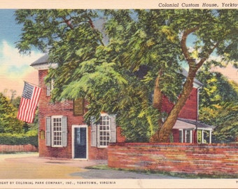 Yorktown, Virginia, Colonial Custom House - Linen Postcard - Unused (YY)